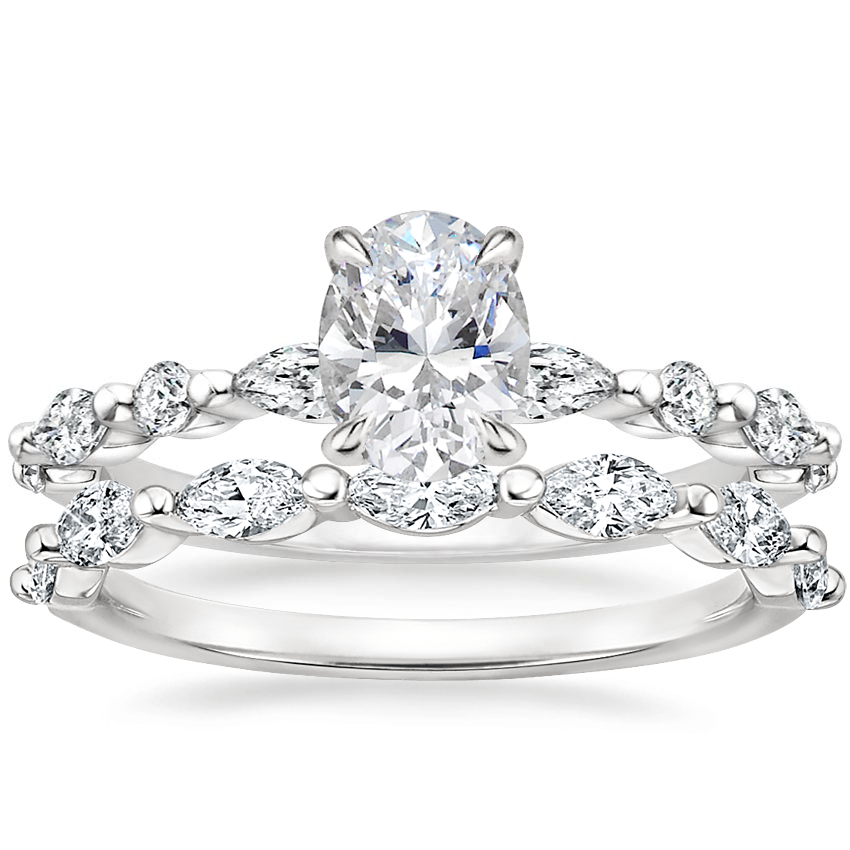18K White Gold Versailles Diamond Ring (1/3 ct. tw.) with Joelle Diamond Ring
