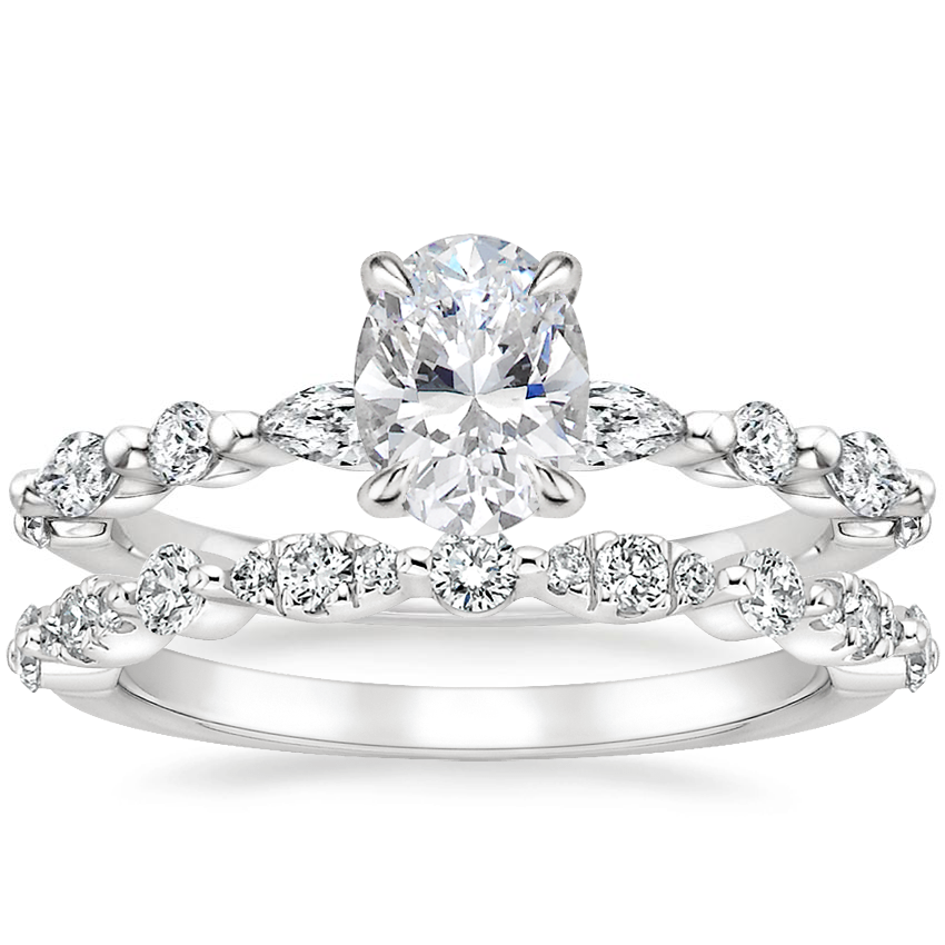 18K White Gold Versailles Diamond Ring (1/3 ct. tw.) with Odette Diamond Ring (1/4 ct. tw.)