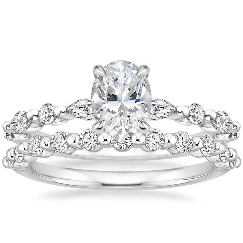 18K White Gold Versailles Diamond Ring with Marseille Diamond Ring (1/3 ct. tw.)