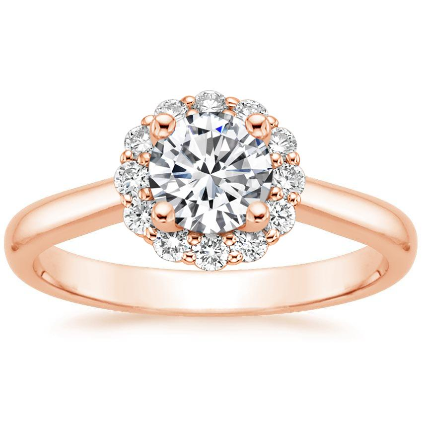 Round Flower Engagement Ring