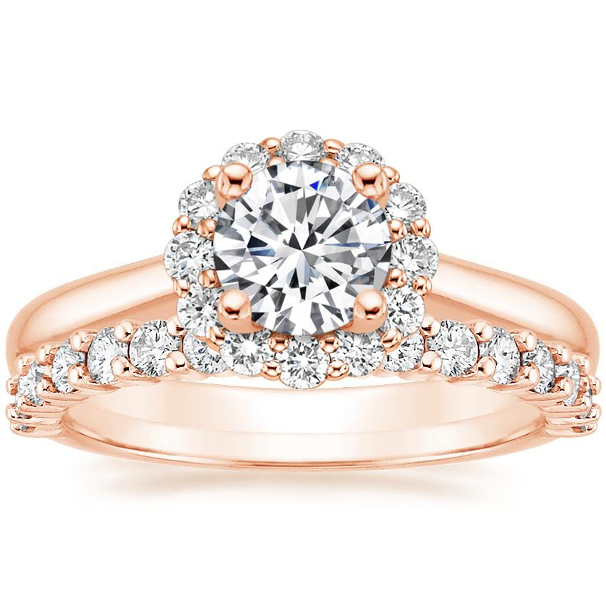 14K Rose Gold Lotus Flower Diamond Ring (1/3 ct. tw.) with Shared Prong Diamond Ring (2/5 ct. tw.)