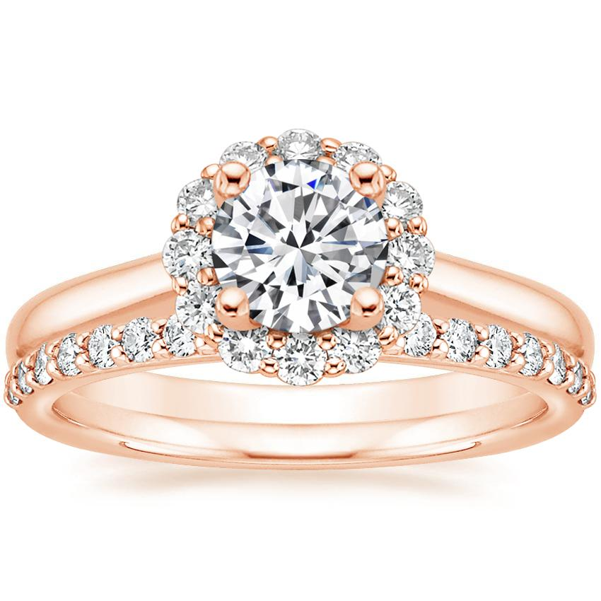 14K Rose Gold Lotus Flower Diamond Ring (1/3 ct. tw.) with Petite Shared Prong Diamond Ring (1/4 ct. tw.)