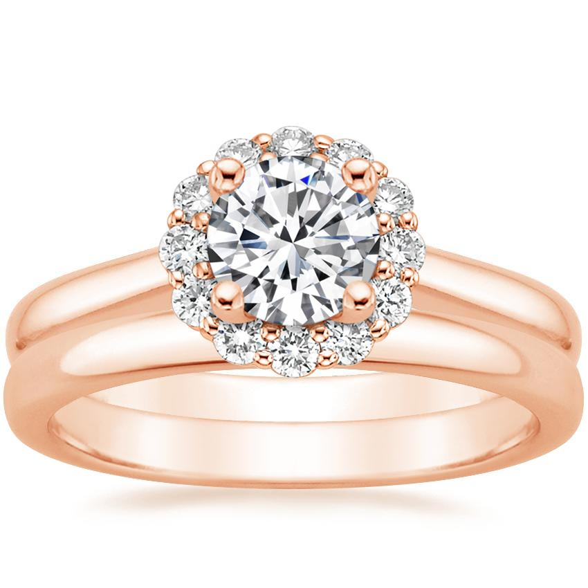 14K Rose Gold Lotus Flower Diamond Ring (1/3 ct. tw.) with 2.5mm Comfort Fit Wedding Ring