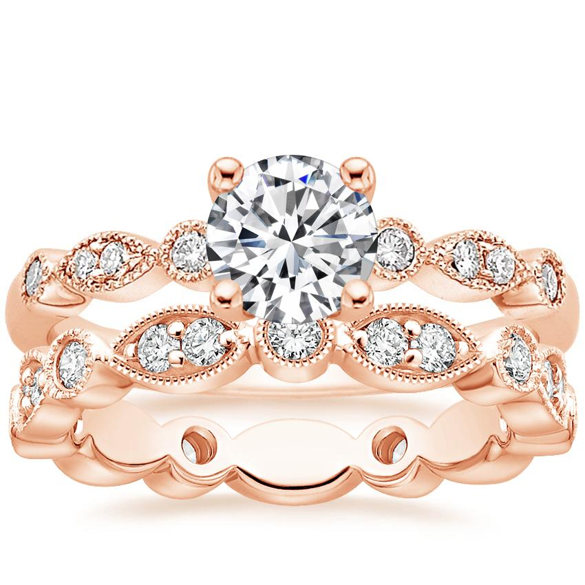 14K Rose Gold Tiara Diamond Ring with Luxe Tiara Eternity Diamond Ring (1/2 ct. tw.)