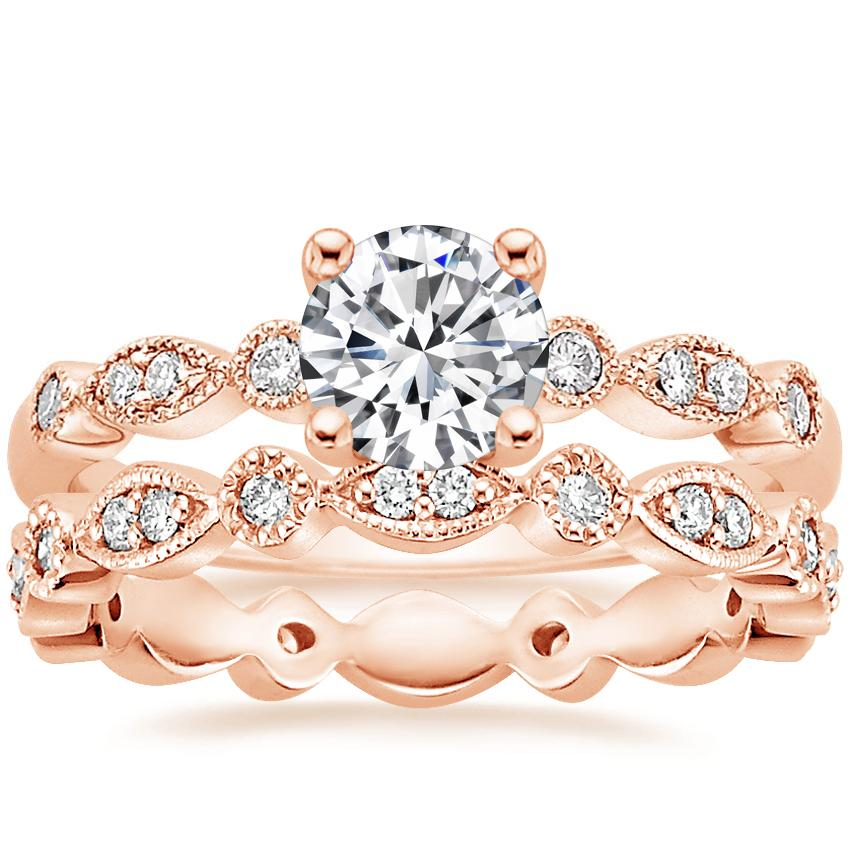 14K Rose Gold Tiara Diamond Ring with Tiara Eternity Diamond Ring (1/4 ct. tw.)