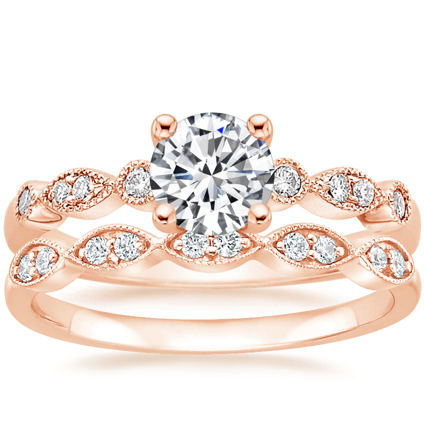14K Rose Gold Tiara Diamond Ring (1/10 ct. tw) with Cadenza Diamond Ring (1/10 ct. tw.)