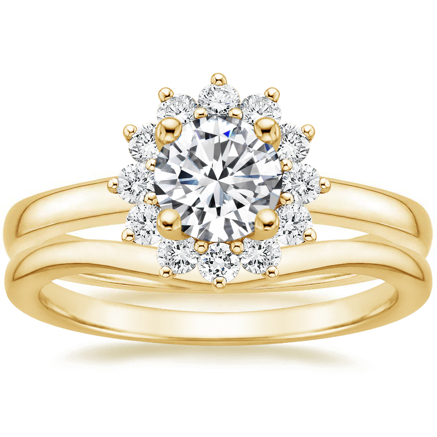 18K Yellow Gold Sunburst Diamond Ring (1/3 ct. tw.) with Petite Curved Wedding Ring