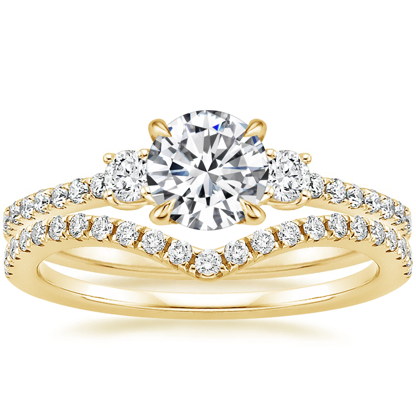 18K Yellow Gold Lyra Diamond Ring (1/4 ct. tw.) with Flair Diamond Ring