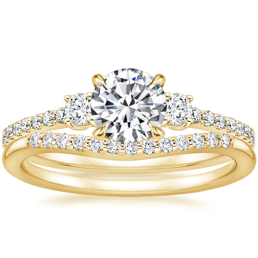 18K Yellow Gold Lyra Diamond Ring (1/4 ct. tw.) with Petite Curved Diamond Ring (1/10 ct. tw.)