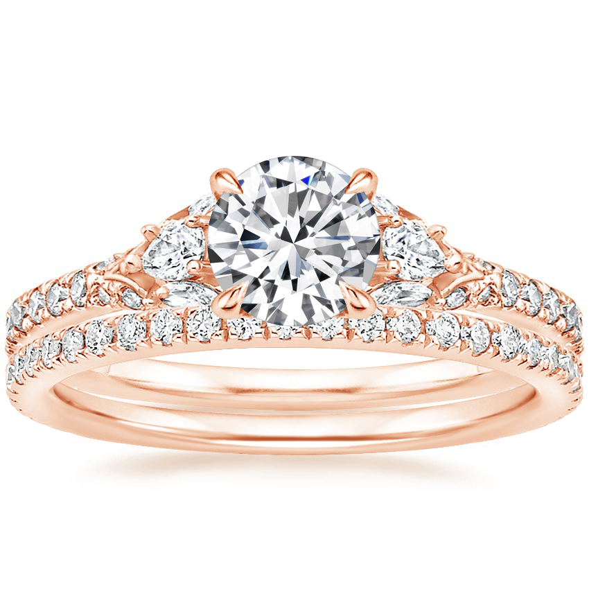 14K Rose Gold Ava Diamond Ring (1/2 ct. tw.) with Luxe Ballad Diamond Ring (1/4 ct. tw.)