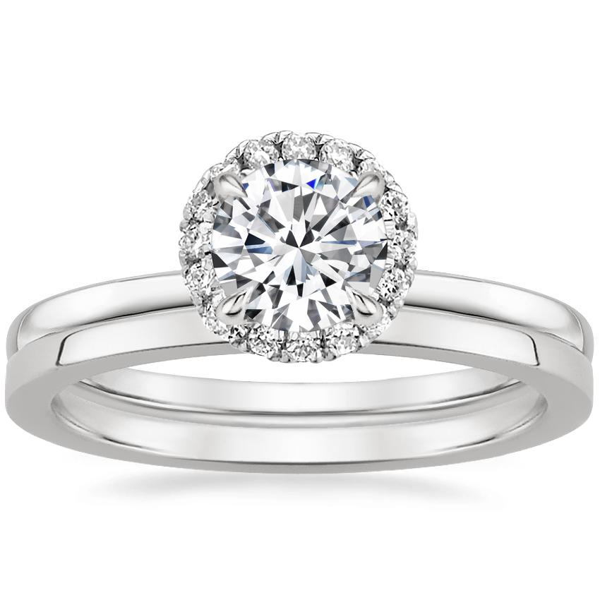 Platinum Vienna Diamond Ring with Petite Quattro Wedding Ring