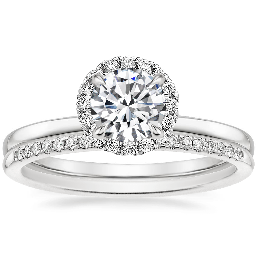 18K White Gold Vienna Diamond Ring with Whisper Diamond Ring (1/10 ct. tw.)