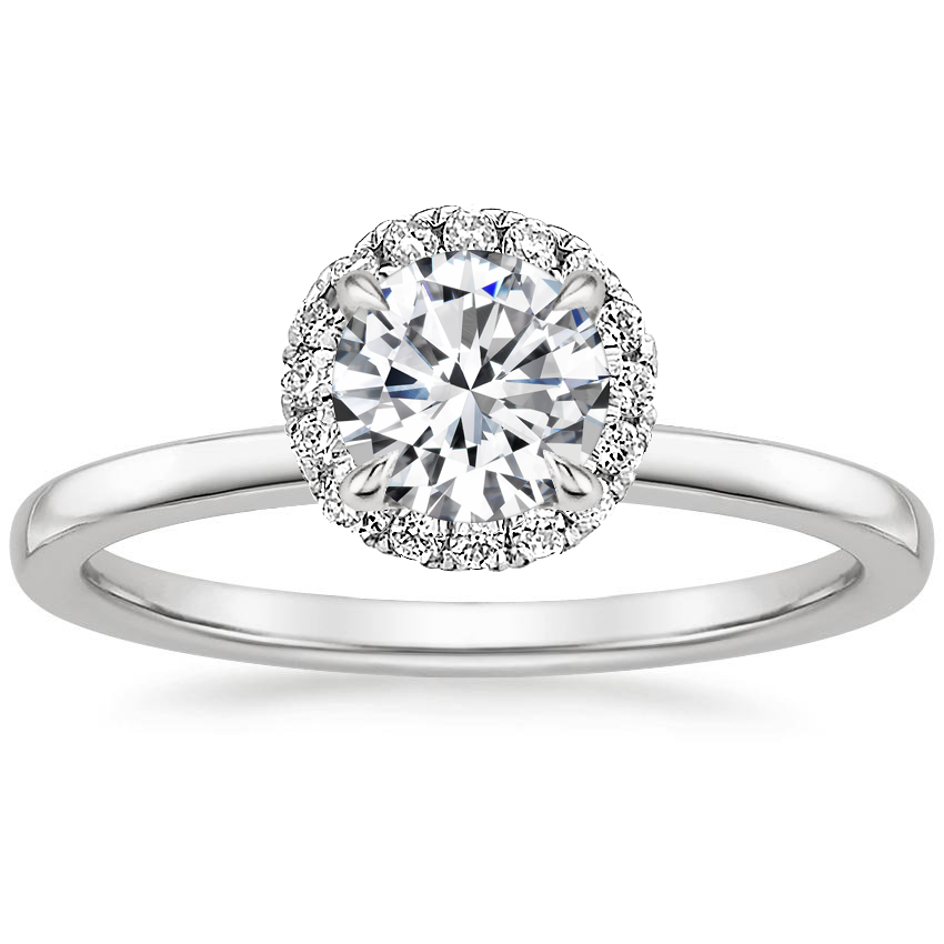 Round Pavé Halo Engagement Ring