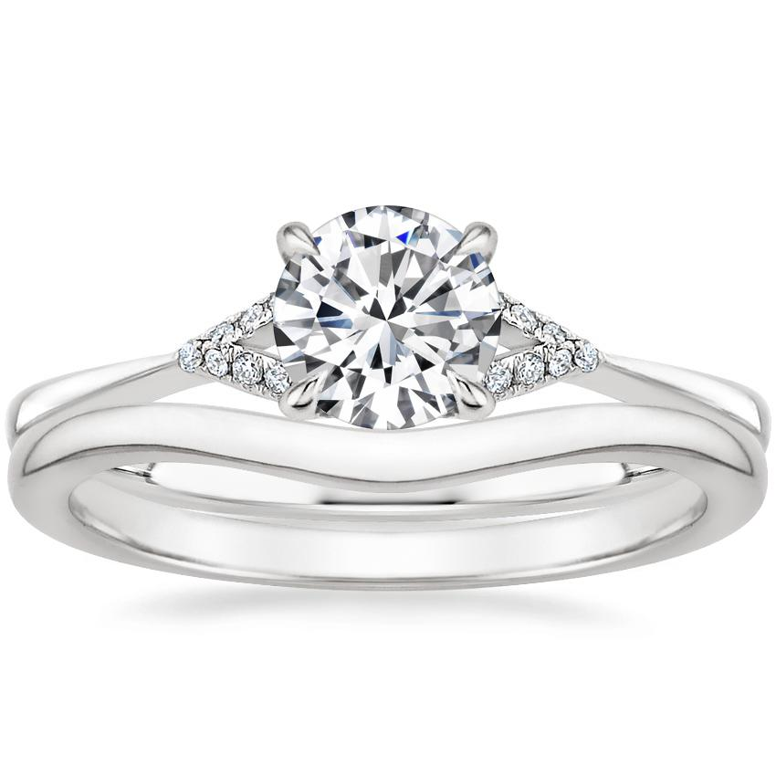 18K White Gold Zoe Diamond Ring with Petite Curved Wedding Ring
