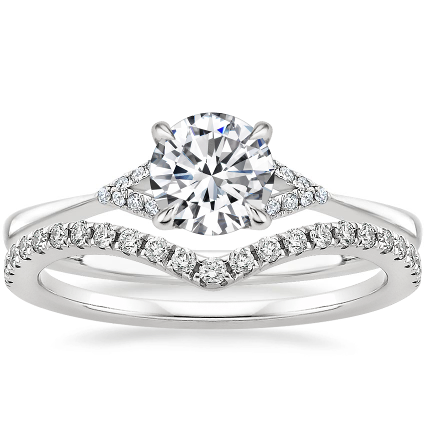 18K White Gold Zoe Diamond Ring with Flair Diamond Ring (1/6 ct. tw.)