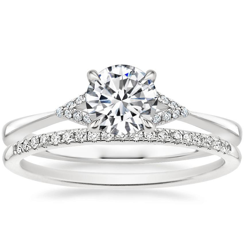 18K White Gold Zoe Diamond Ring with Whisper Diamond Ring (1/10 ct. tw.)