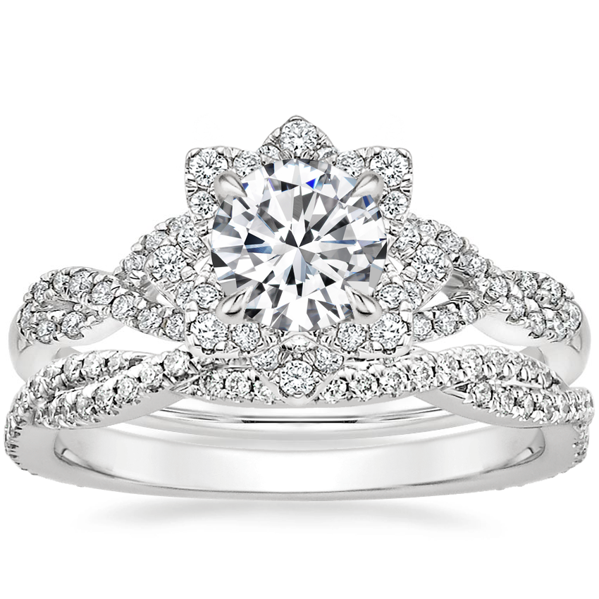 18K White Gold Lily Diamond Ring with Petite Luxe Twisted Vine Diamond Ring (1/4 ct. tw.)