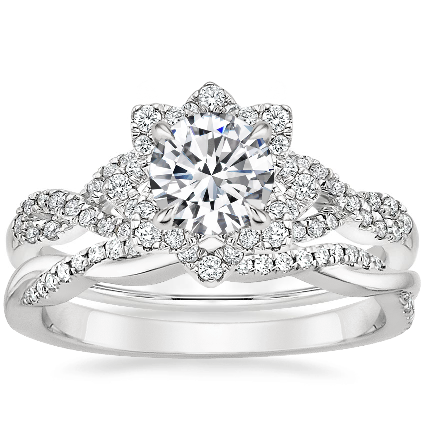 18K White Gold Lily Diamond Ring with Petite Twisted Vine Diamond Ring (1/8 ct. tw.)