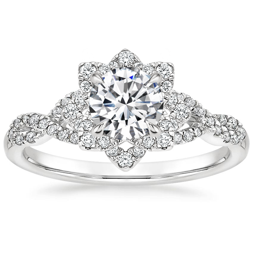 Round Flower Halo Engagement Ring
