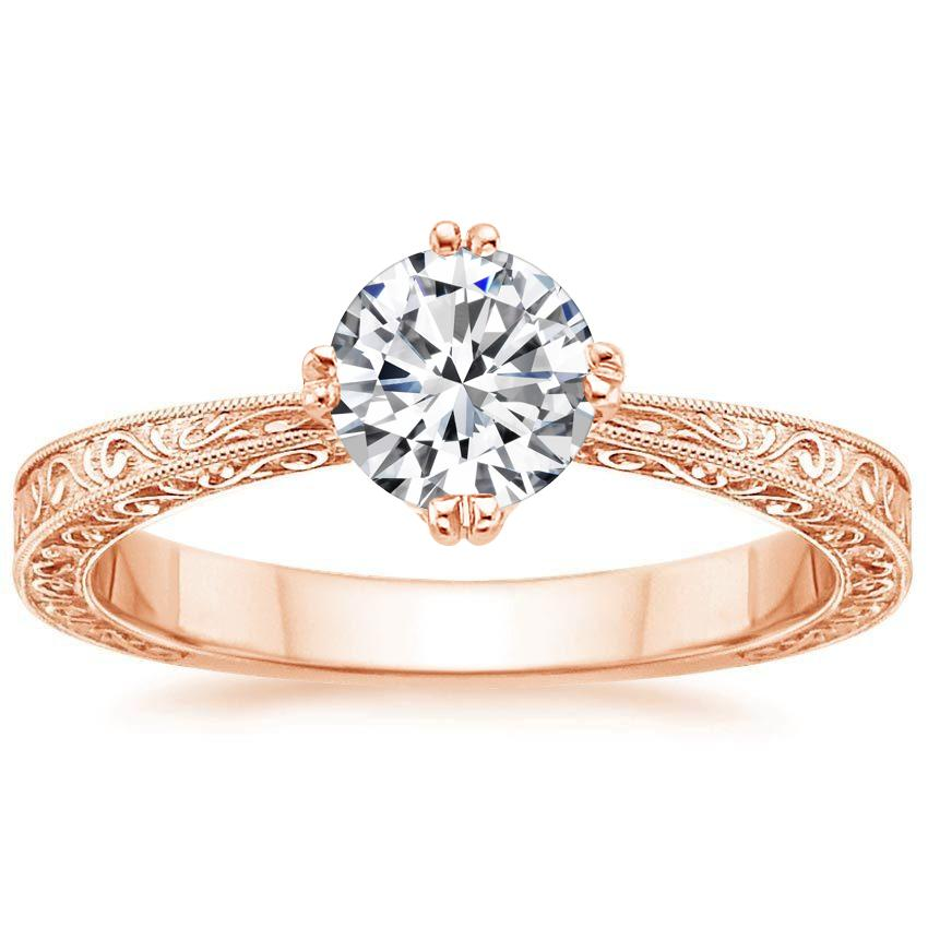 14K Rose Gold True Heart Ring, top view