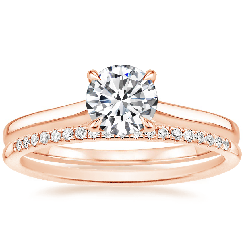 14K Rose Gold Provence Ring with Whisper Diamond Ring (1/10 ct. tw.)