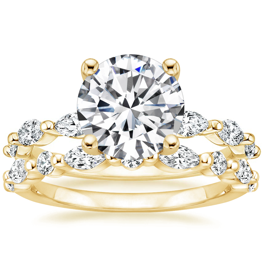 18K Yellow Gold Joelle Diamond Ring (1/3 ct. tw.) with Versailles Diamond Ring (3/8 ct. tw.)