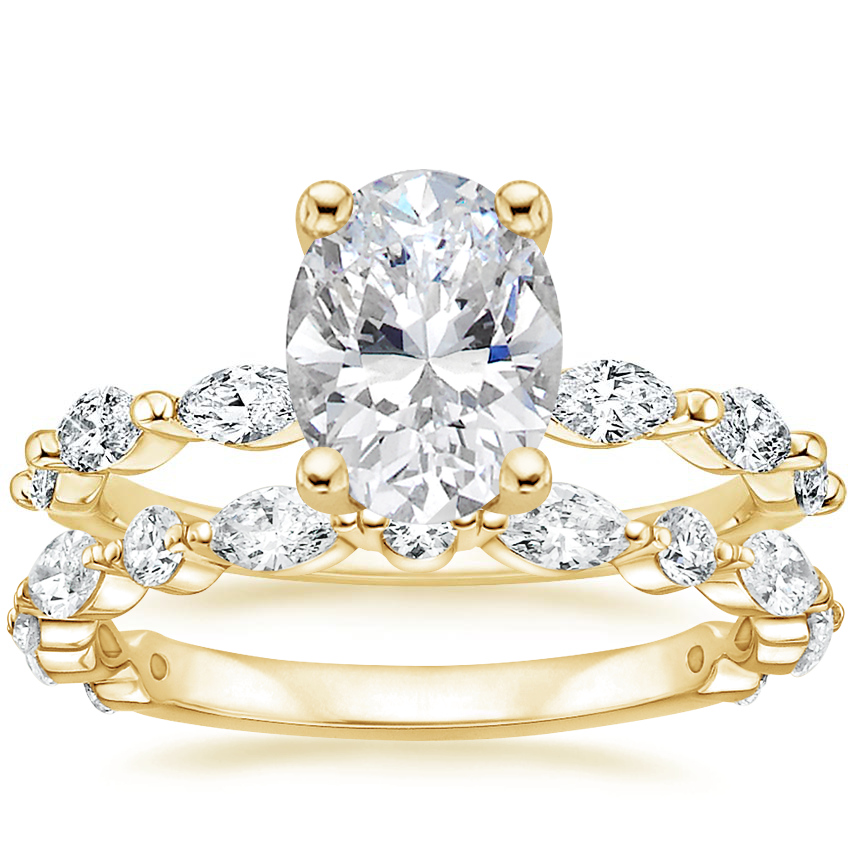 18K Yellow Gold Joelle Diamond Ring (1/3 ct. tw.) with Luxe Versailles Diamond Ring (1/2 ct. tw.)