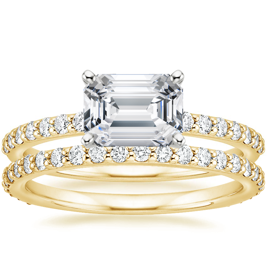 18K Yellow Gold Horizontal Petite Shared Prong Diamond Ring (1/4 ct. tw.) with Petite Shared Prong Eternity Diamond Ring (1/2 ct. tw.)