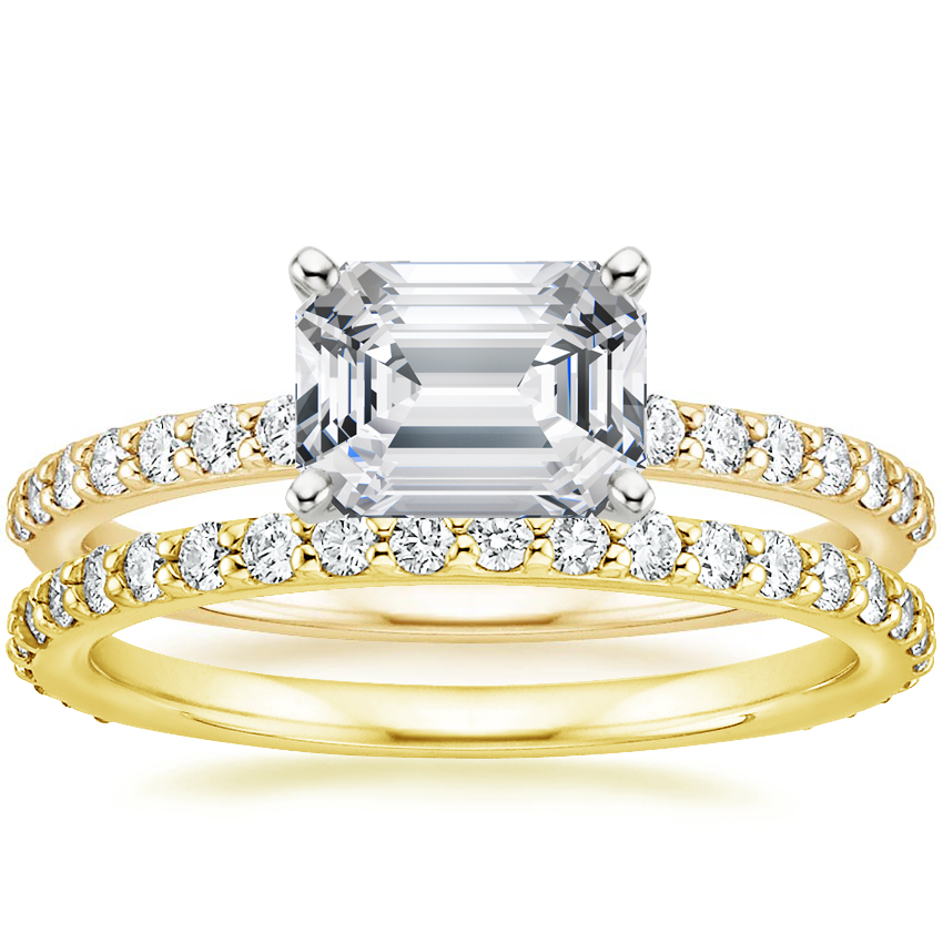 18K Yellow Gold Horizontal Petite Shared Prong Diamond Ring (1/4 ct. tw.) with Luxe Petite Shared Prong Diamond Ring (3/8 ct. tw.)