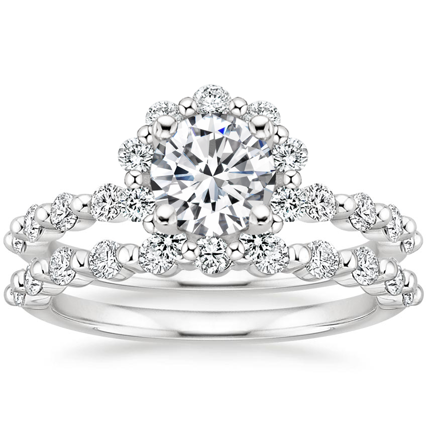 Platinum Marseille Halo Diamond Bridal Set (3/4 ct. tw.)
