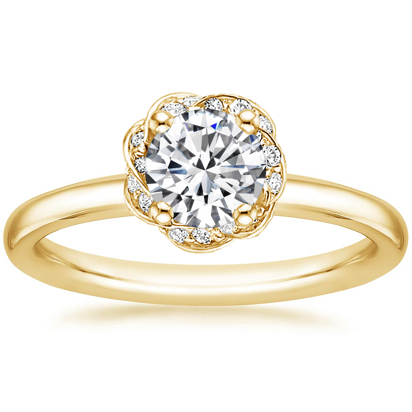 Round 18K Yellow Gold Corinna Diamond Ring