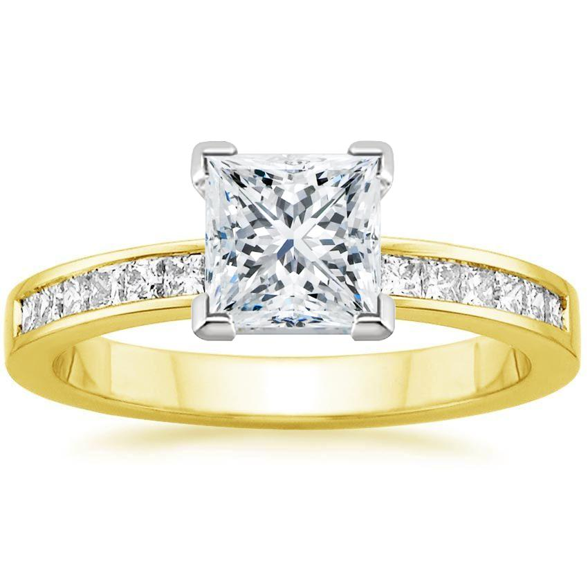 Yellow Gold Petite Channel Set Princess Diamond Ring (1/3 ct. tw.)