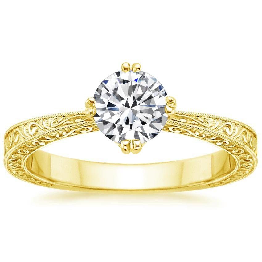 Round 18K Yellow Gold True Heart Ring