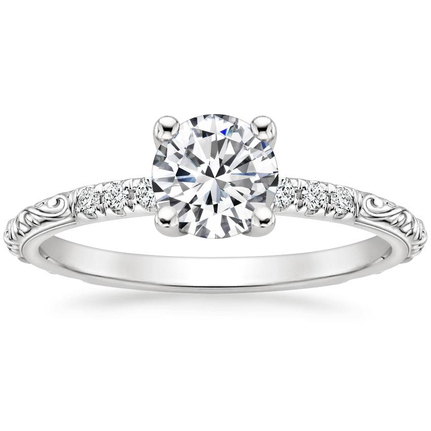 Round Antique Scroll Engagement Ring