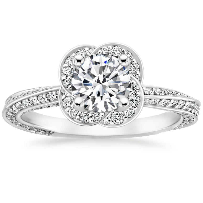 Round Floral Twist Halo Diamond Ring