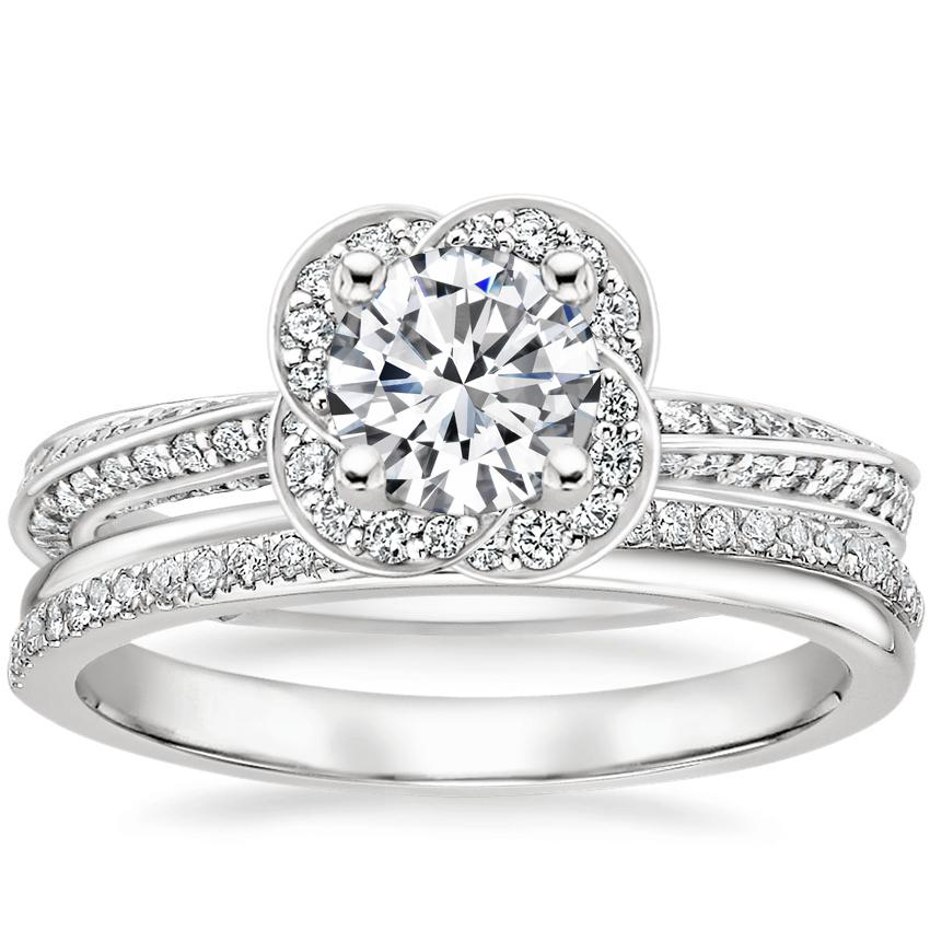 18K White Gold Azalea Diamond Ring with Symphony Diamond Ring