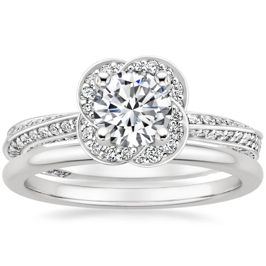 Platinum Azalea Diamond Ring with Petite Comfort Fit Wedding Ring