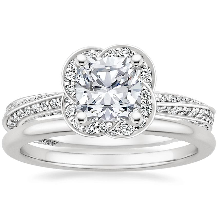 18K White Gold Azalea Diamond Ring with Petite Comfort Fit Wedding Ring