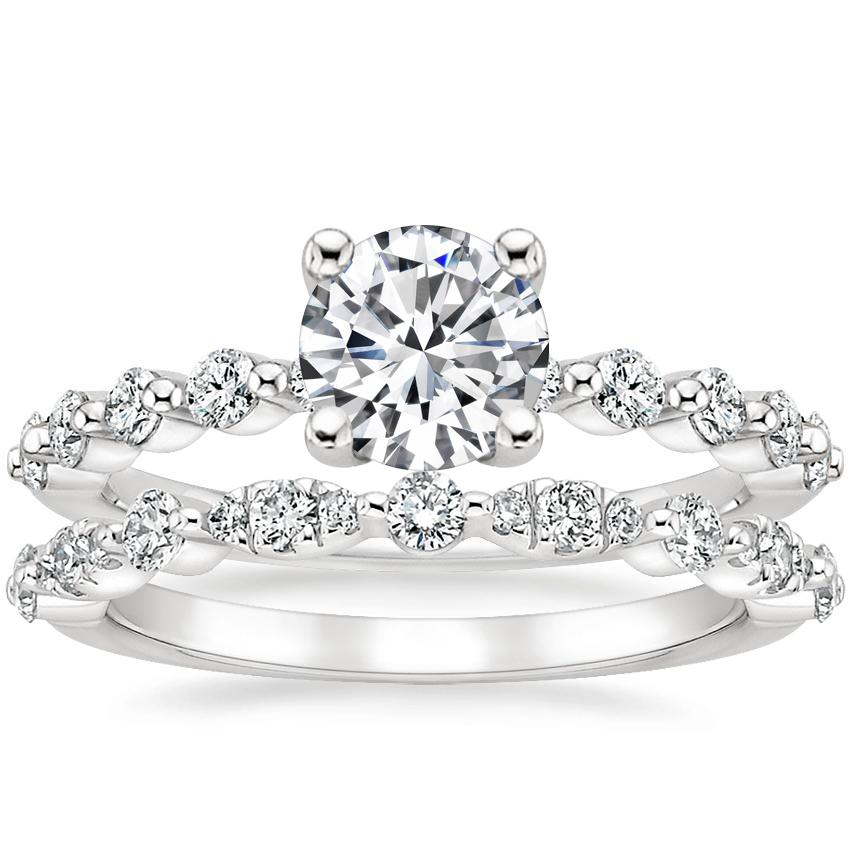 Platinum Marseille Diamond Ring (1/4 ct. tw.) with Odette Diamond Ring (1/4 ct. tw.)