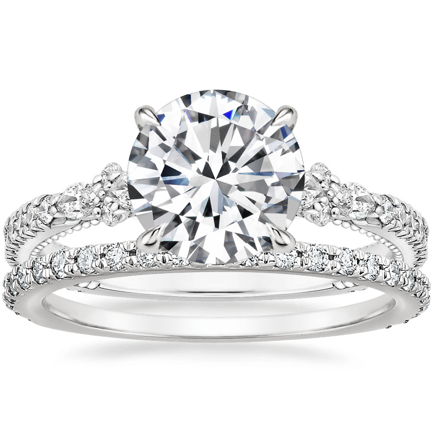 18K White Gold Primrose Diamond Ring with Luxe Sonora Diamond Ring (1/4 ct. tw.)
