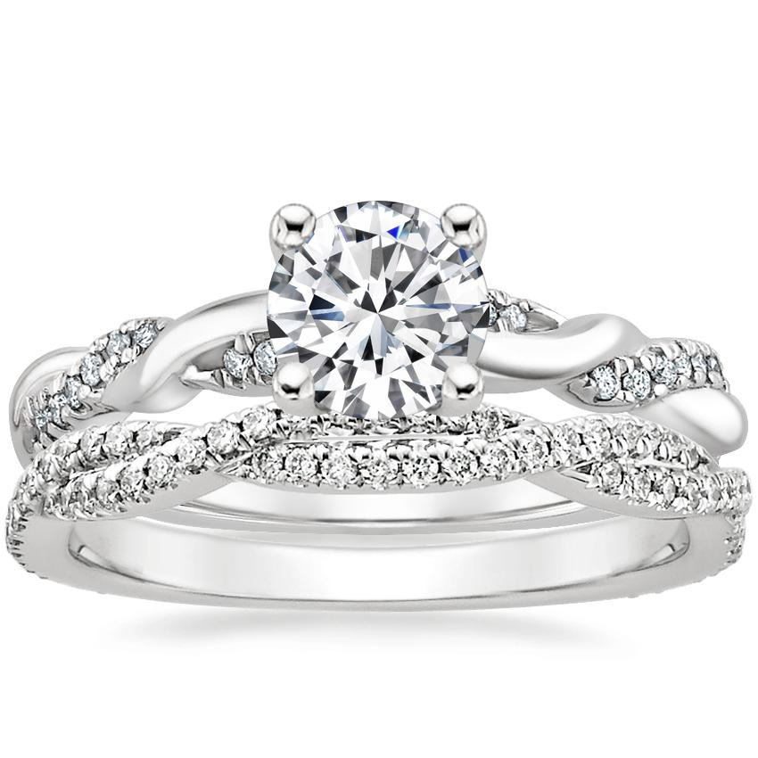 18K White Gold Tressa Diamond Ring with Petite Luxe Twisted Vine Diamond Ring (1/3 ct. tw.)