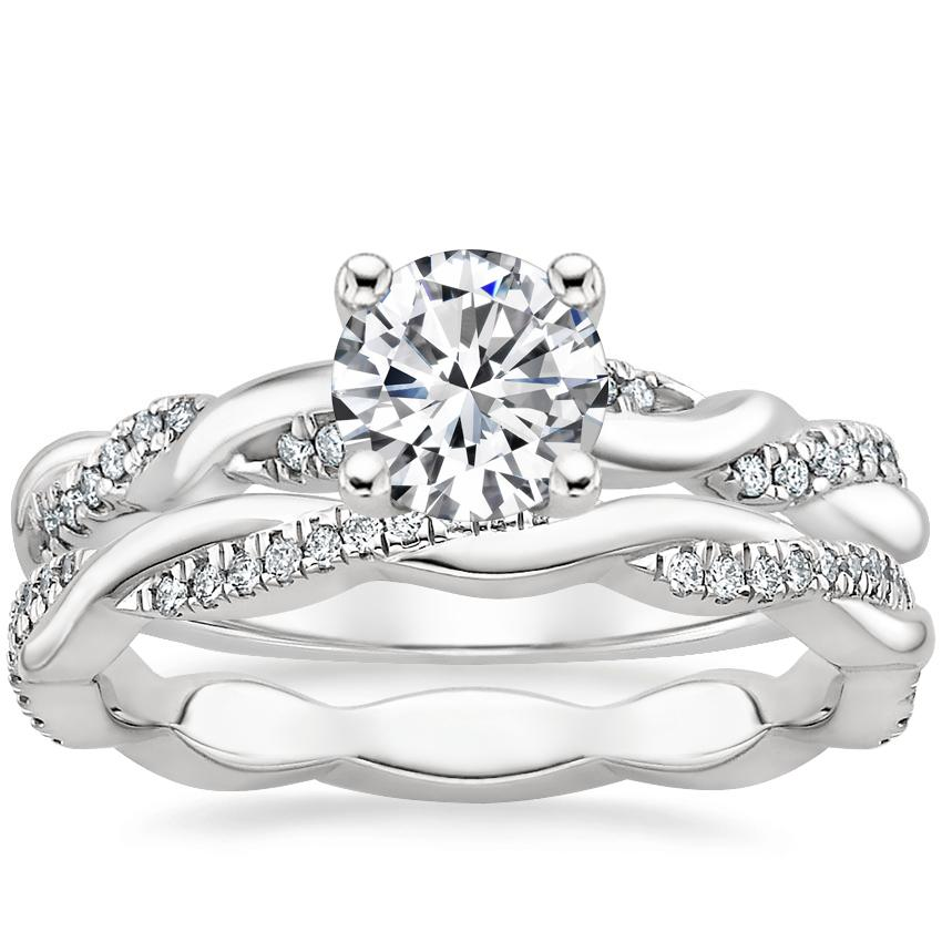 18K White Gold Tressa Diamond Ring with Petite Twisted Vine Eternity Diamond Ring (1/5 ct. tw.)
