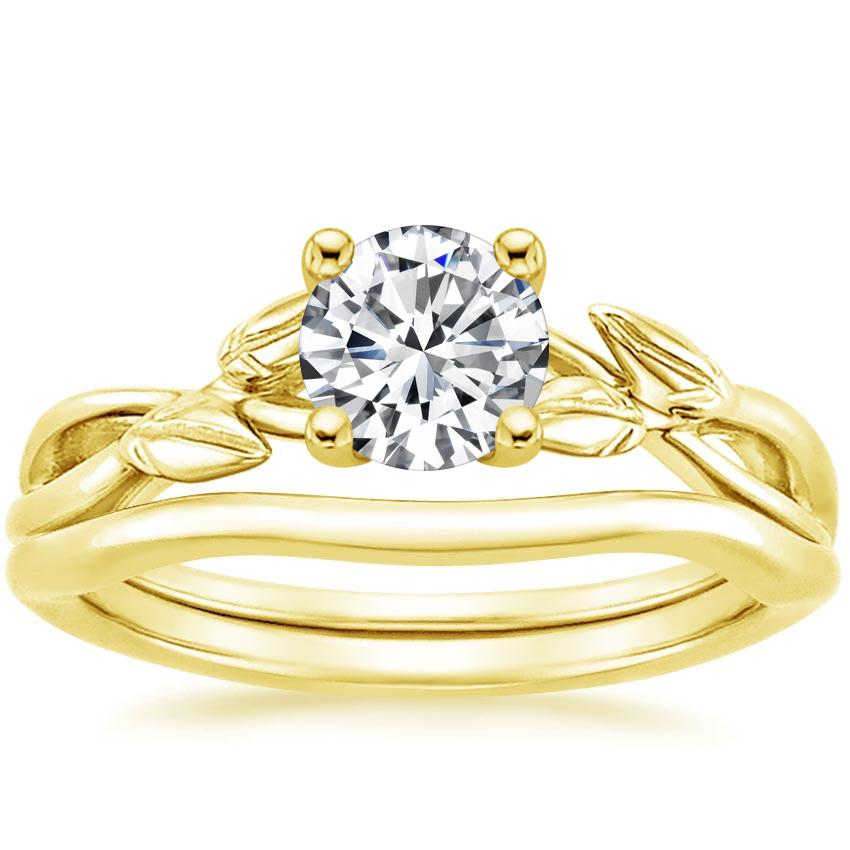 18K Yellow Gold Budding Willow Bridal Set, top view