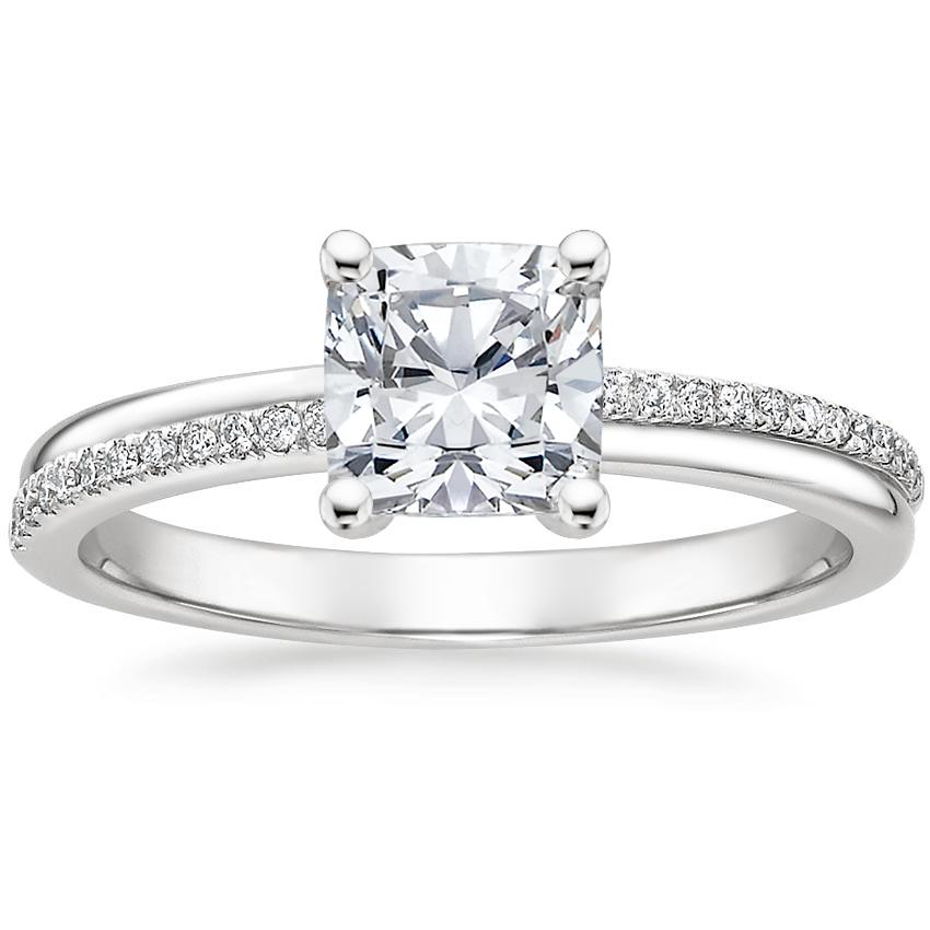 Cushion 18K White Gold Symphony Diamond Ring