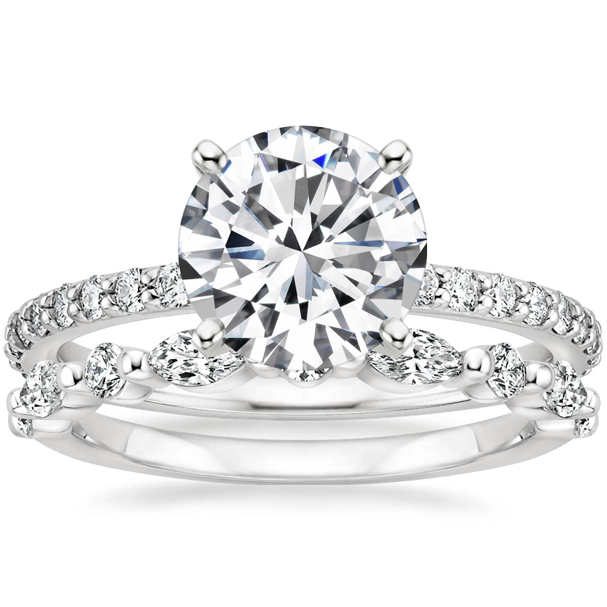 Platinum Luxe Petite Shared Prong Diamond Ring (1/3 ct. tw.) with Versailles Diamond Ring (3/8 ct. tw.)
