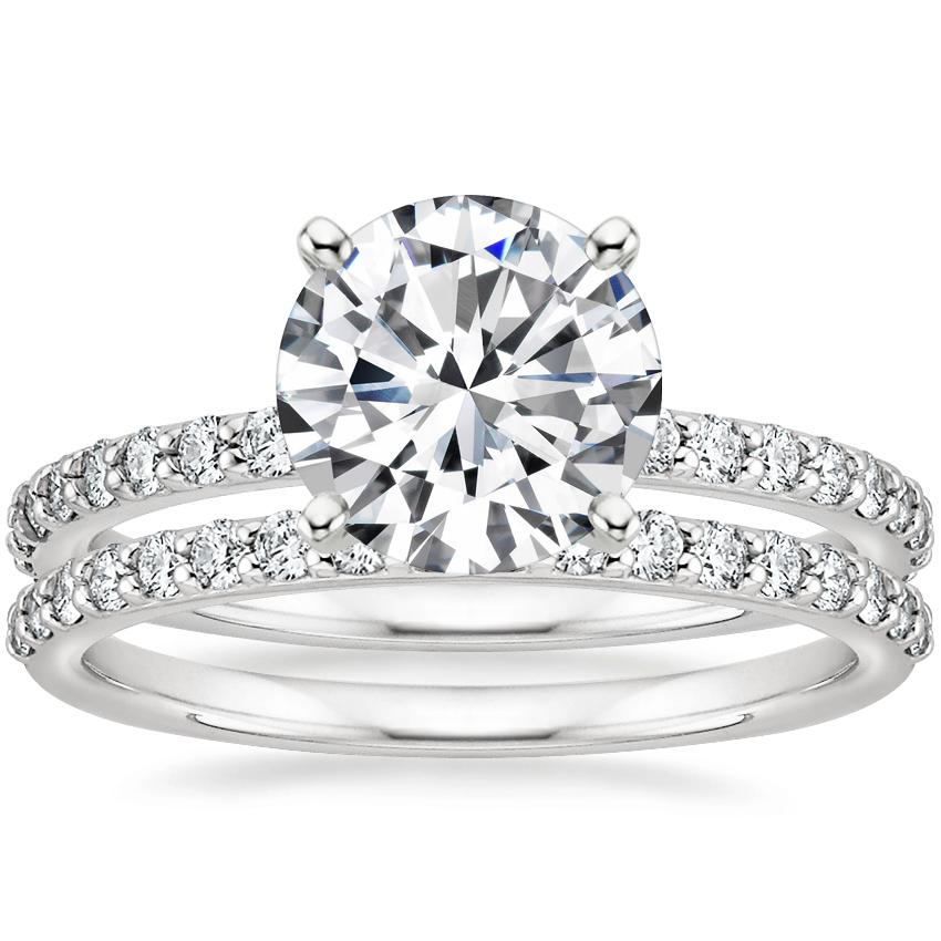 18K White Gold Luxe Petite Shared Prong Diamond Ring with Petite Shared Prong Diamond Ring (1/4 ct. tw.)