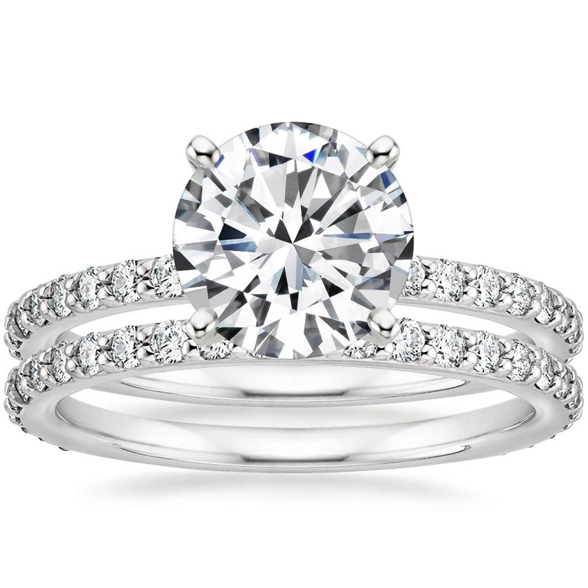 Platinum Luxe Petite Shared Prong Diamond Ring with Petite Shared Prong Eternity Diamond Ring (1/2 ct. tw.)