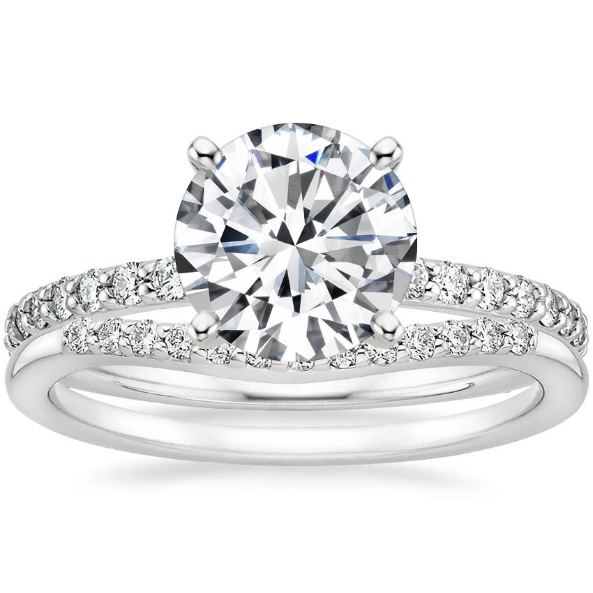 18K White Gold Luxe Petite Shared Prong Diamond Ring (1/3 ct. tw.) with Petite Curved Diamond Ring