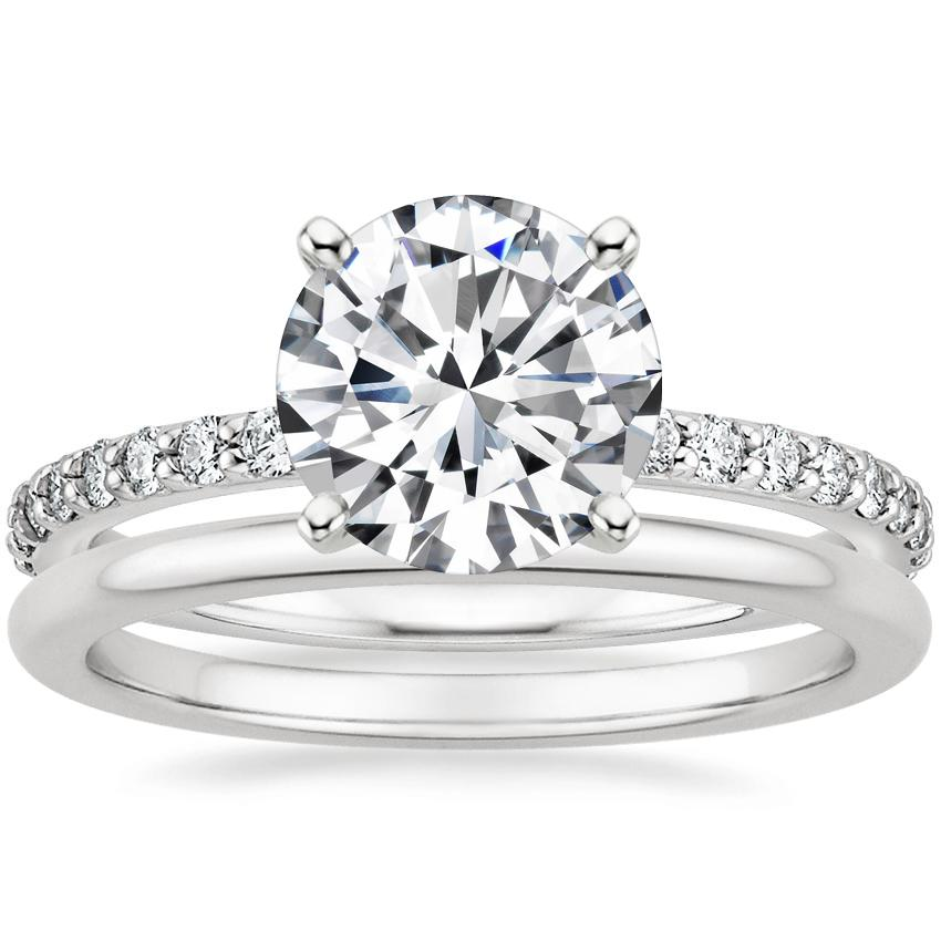 Platinum Luxe Petite Shared Prong Diamond Ring with Petite Comfort Fit Wedding Ring
