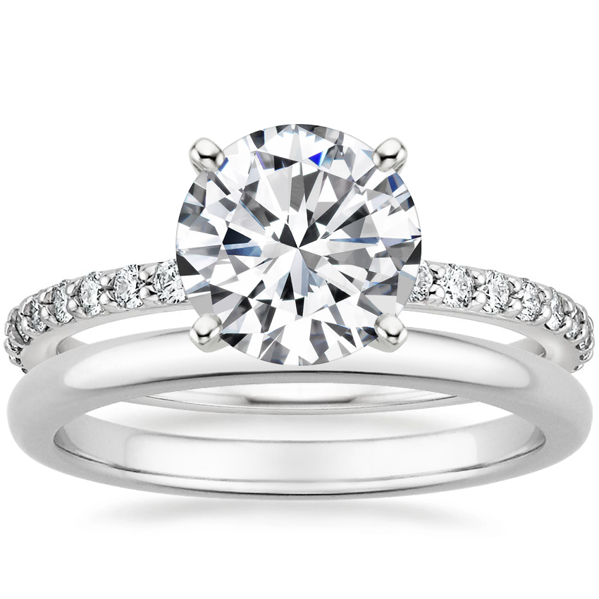 Platinum Luxe Petite Shared Prong Diamond Ring (1/3 ct. tw.) with 2mm Comfort Fit Wedding Ring